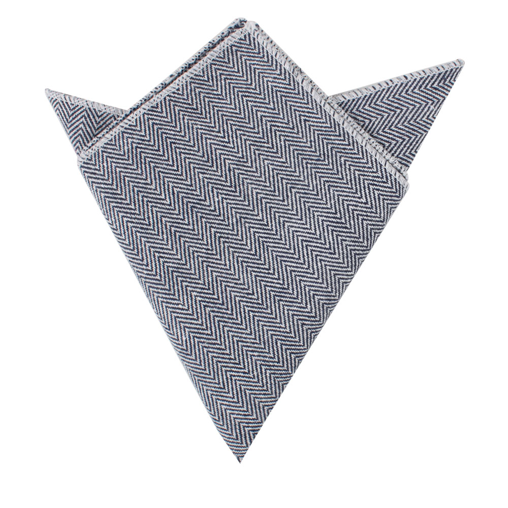 Navy Blue Herringbone Pocket Square Weddings