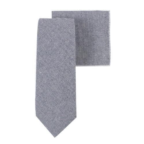 Navy Blue Herringbone Tie & Pocket Square Matching