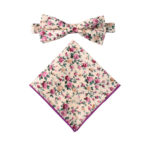 Pastel Pink Rose Floral Bow Tie and Pocket Square Sets