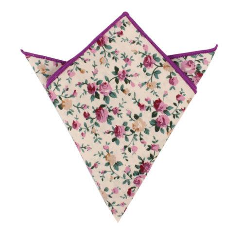 Pastel Pink Rose Floral Pocket Square for Groomsmen