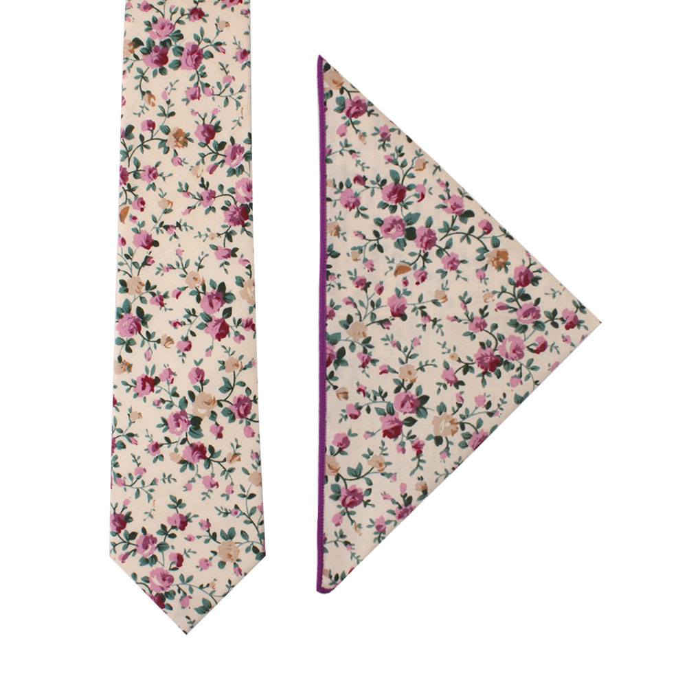 Pastel Pink Rose Floral Tie and Pocket Square Set for Men