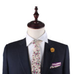 Pastel Pink Rose Floral Tie and Pocket Square Set for Grooms