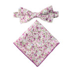 Pink Roses Floral Bow Tie and Pocket Square Sets