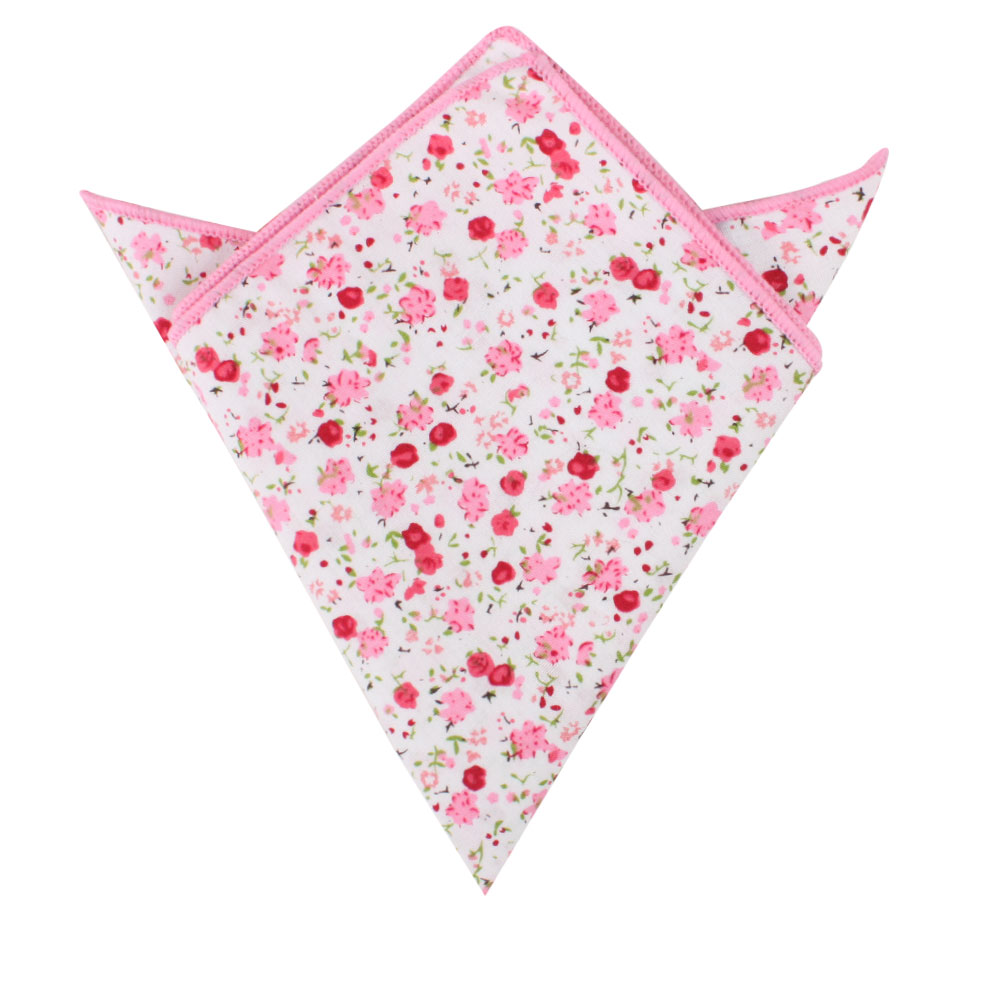 Tonal Pink Azalea Floral Pocket Square Groomsmen Weddings