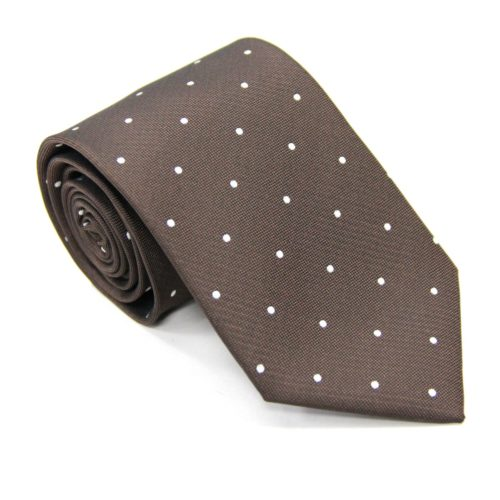 White Polka Dot Brown Tie for Groomsmen Australia