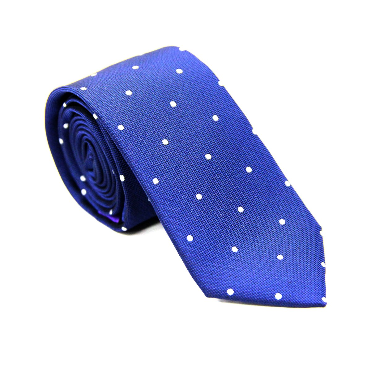 White Polka Dot Navy Tie for Groomsmen