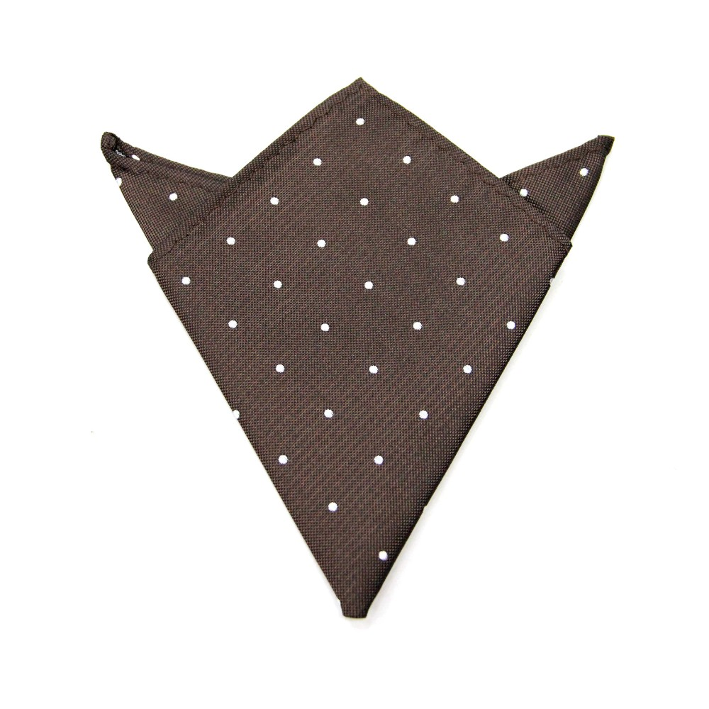 Brown White Polka Dot Pocket Square for Groom