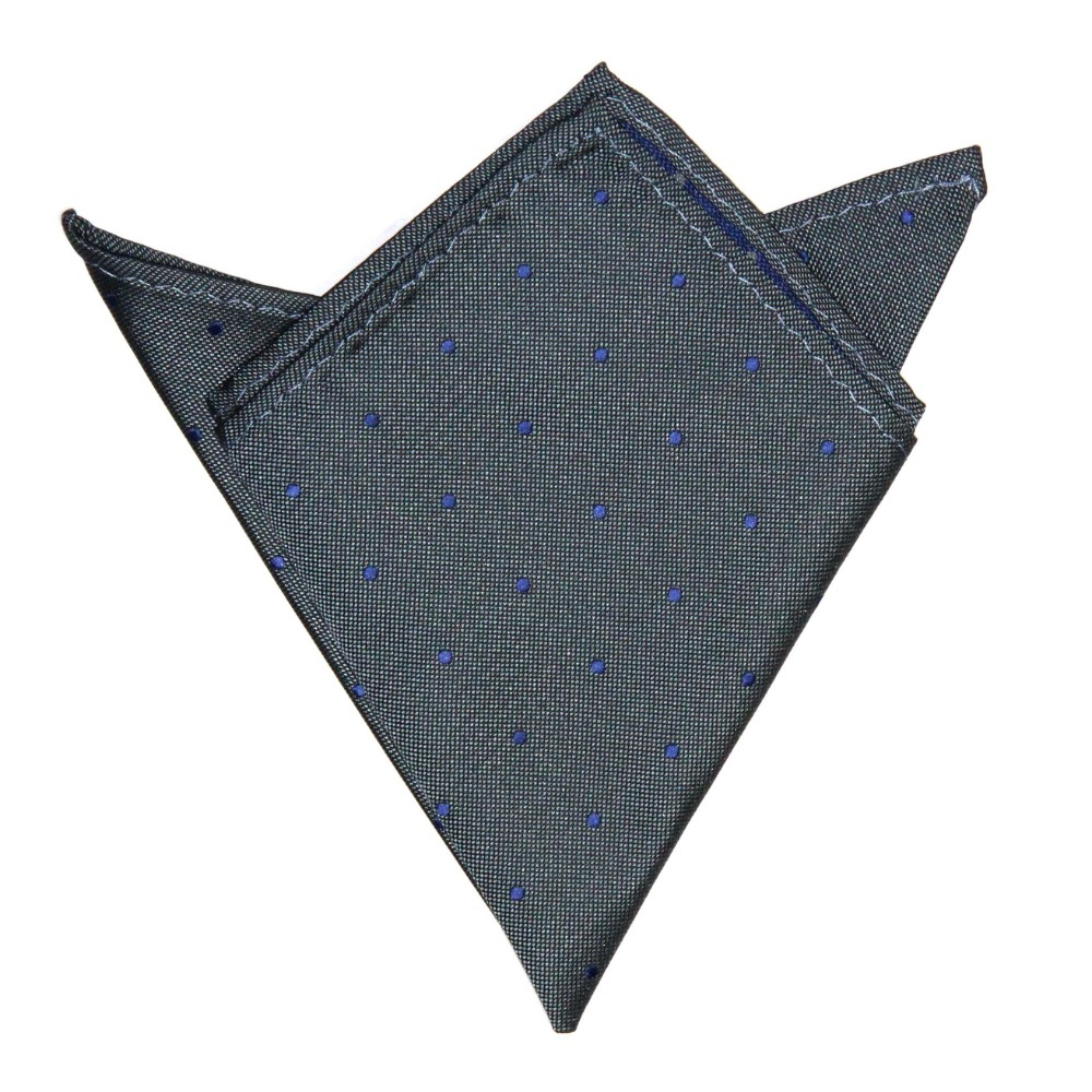 Grey Navy Polka Dot Pocket Square for Men