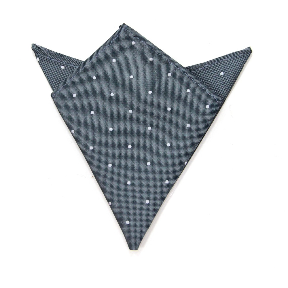 Grey White Polka Dot Pocket Square for Men