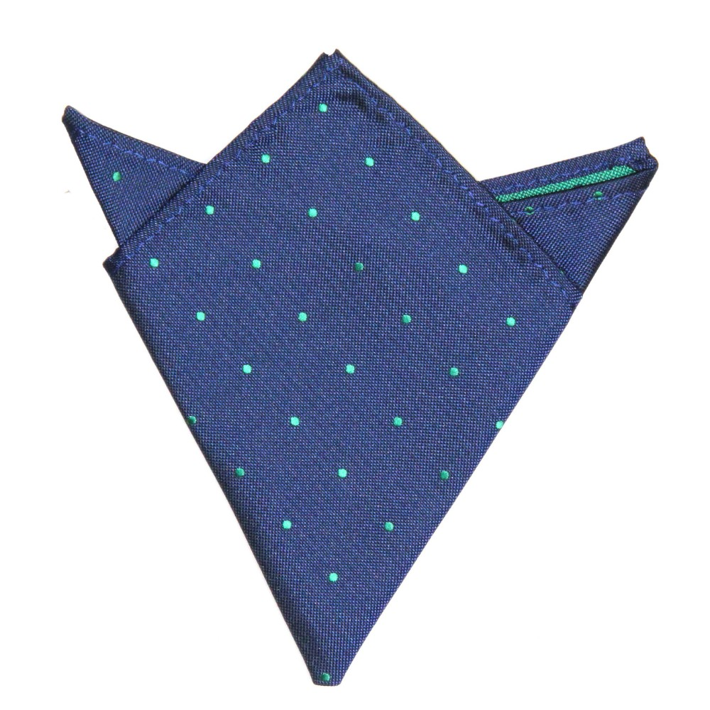 Navy Green Polka Dot Pocket Square for Men