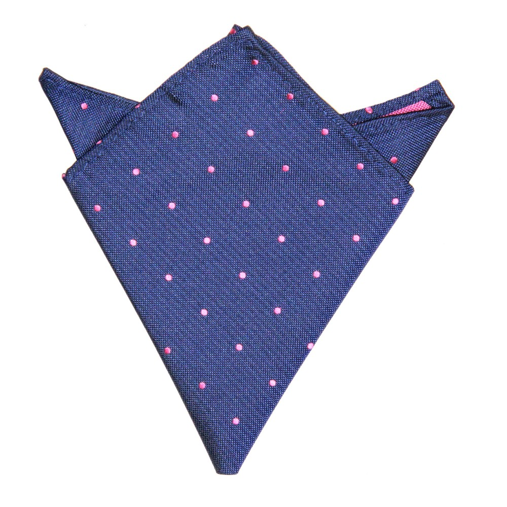 Navy Pink Polka Dot Pocket Square for Him