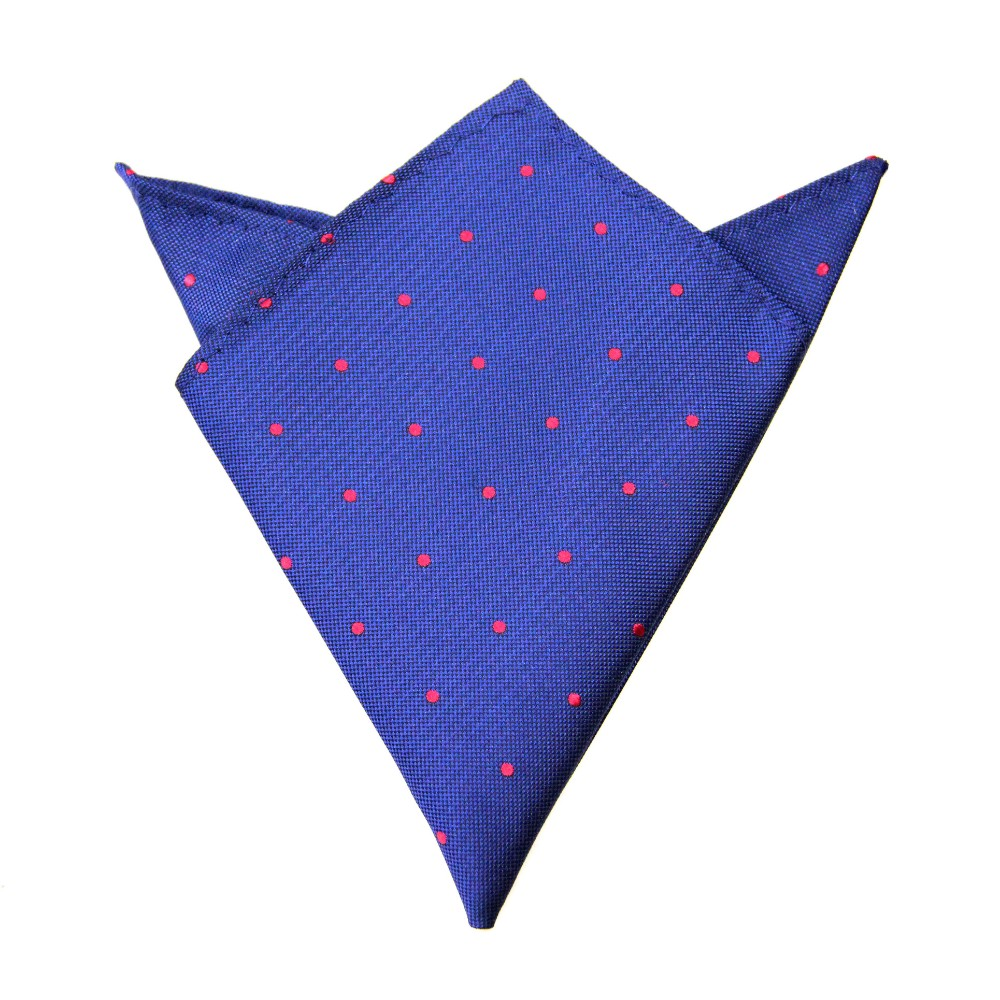 Navy Red Polka Dot Pocket Square for Men