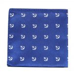Navy White Anchor Pocket Square for Men