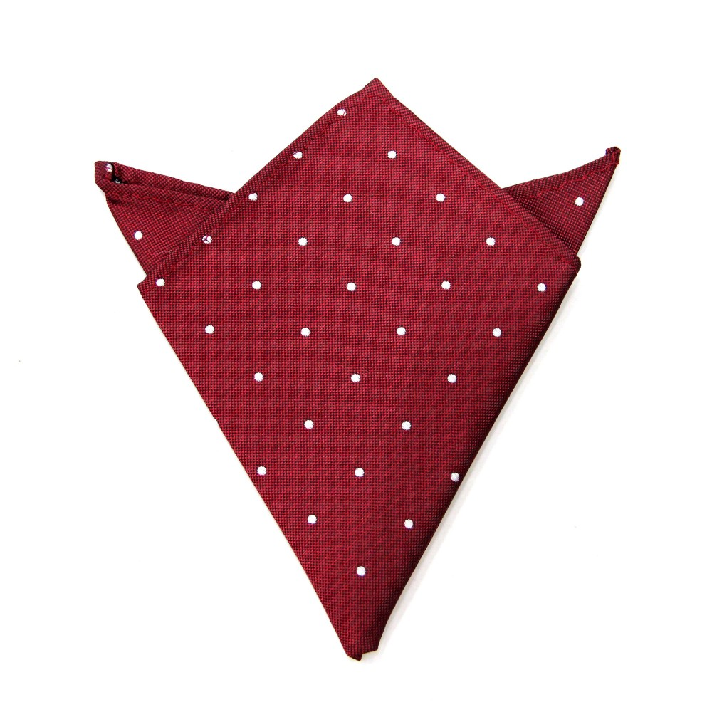 Red Polka Dot Pocket Square for Him