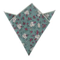 Teal Floral Pocket Square