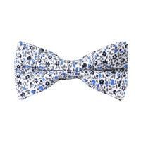 Black Light Blue Floral Bow Tie