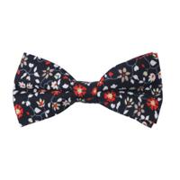 Black Red Orange Amaryllis Floral Bow Tie